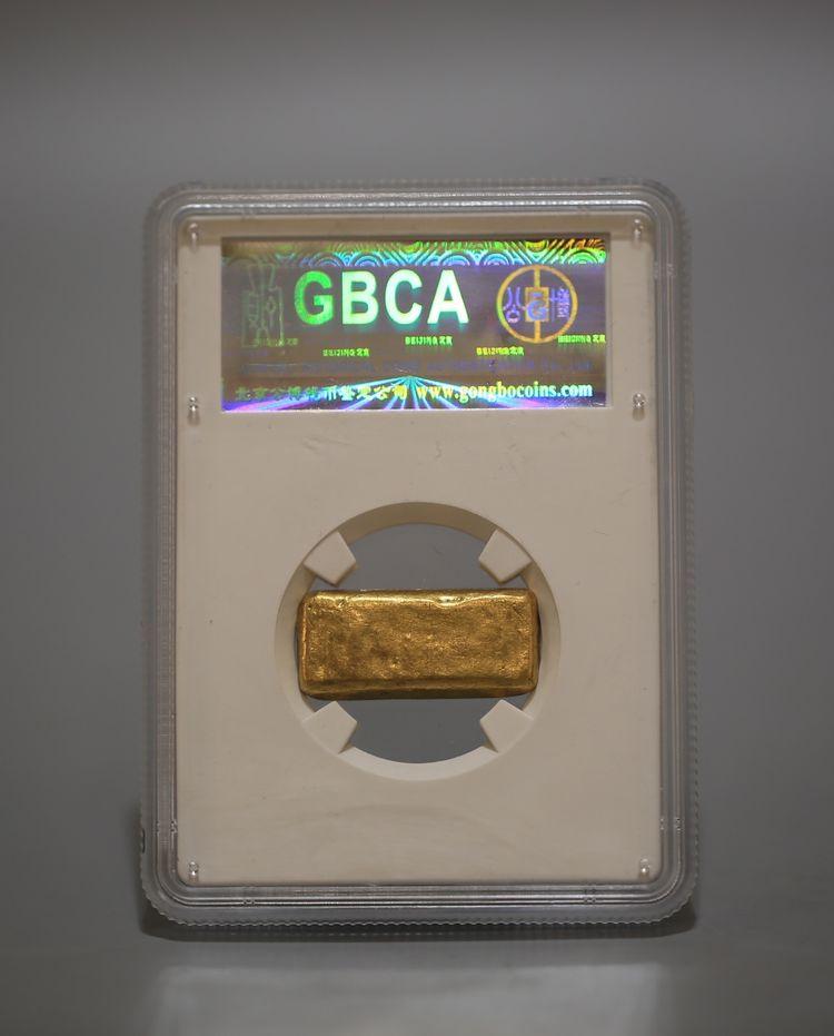 金条一两,民国,重量:31.2克,公博评级AU55,大丰金条 正 足赤。